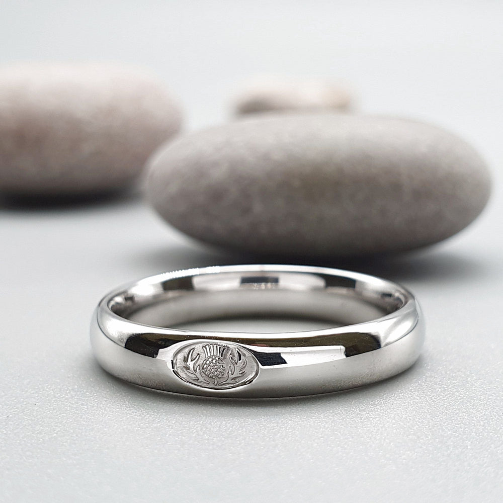 It is just an image of Scottish Thistle platinum wedding rings Handmade Scottish bands