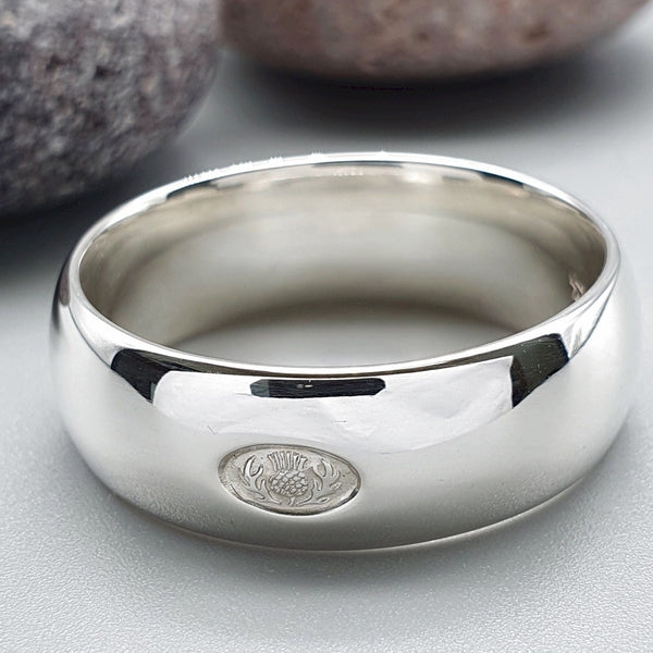 Platinum wedding ring 7mm to 8mm Scottish Thistle wide band. - Gretna Green Wedding Rings