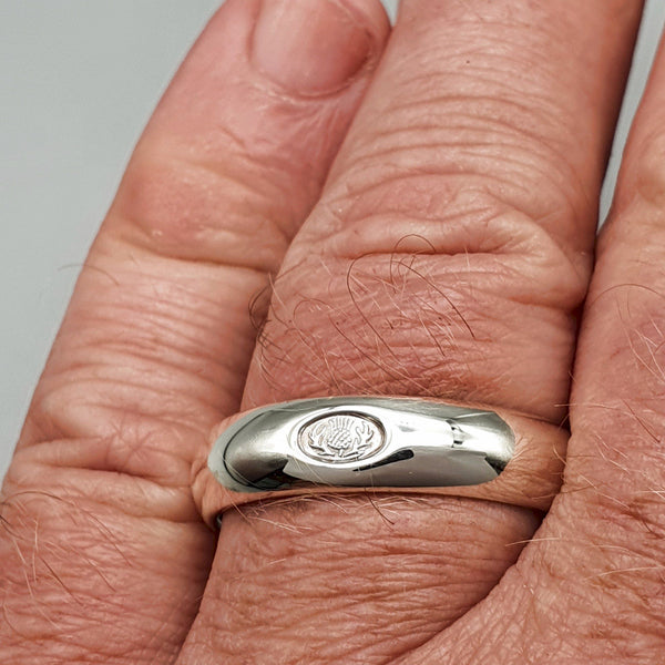 Wedding ring 5mm to 6mm Scottish Thistle white gold medium band. - Gretna Green Rings