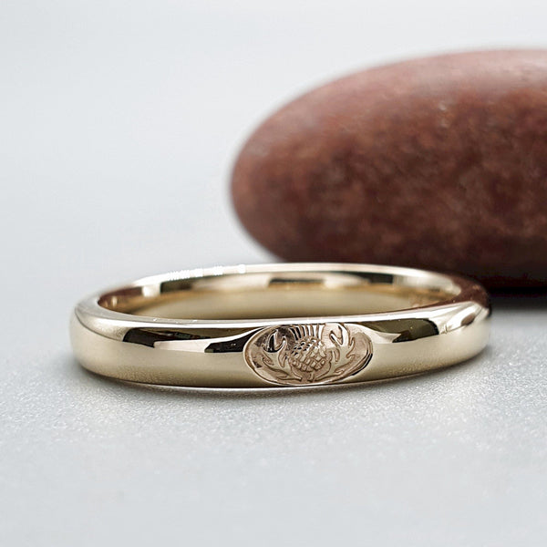 Wedding ring 3mm to 4mm Scottish Thistle yellow gold narrow band. - Gretna Green Rings