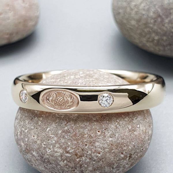 Scottish Thistle diamond set yellow gold narrow band. - Gretna Green Rings
