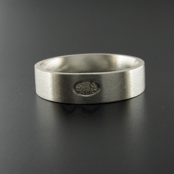 Scottish flat brushed 6mm silver wedding ring