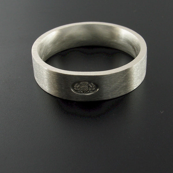 Scottish flat brushed 6mm silver wedding ring top