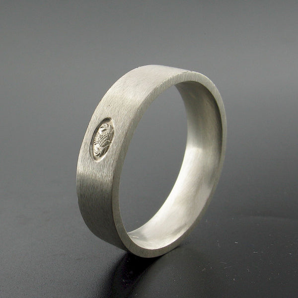 Scottish flat brushed 6mm silver wedding ring end