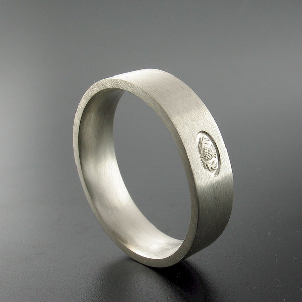 Silver wedding ring 5mm to 6mm Scottish flat medium brushed court band. - Gretna Green Rings
