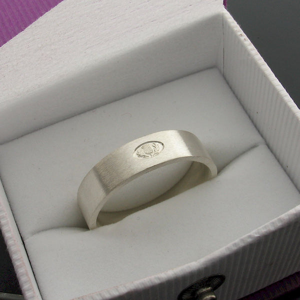 Scottish flat brushed 6mm silver wedding ring box