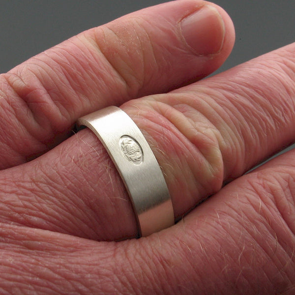 Scottish flat brushed 6mm silver wedding ring hand