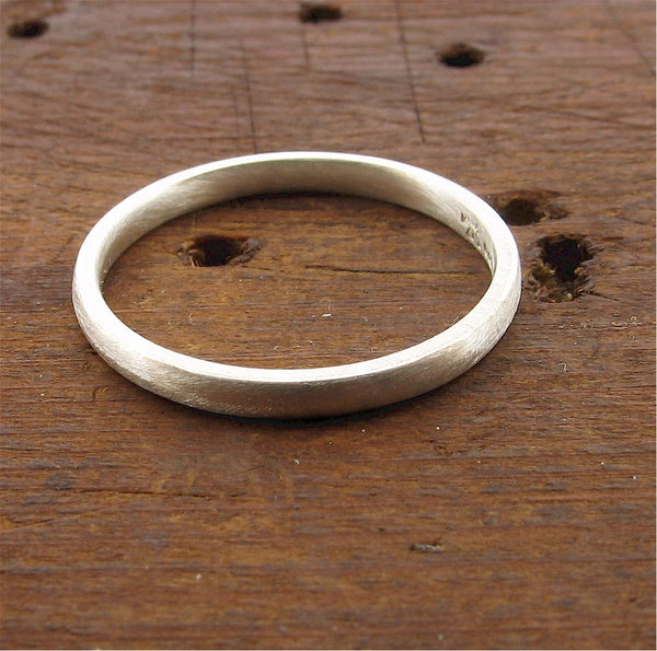 White gold narrow court wedding ring. - Gretna Green Rings