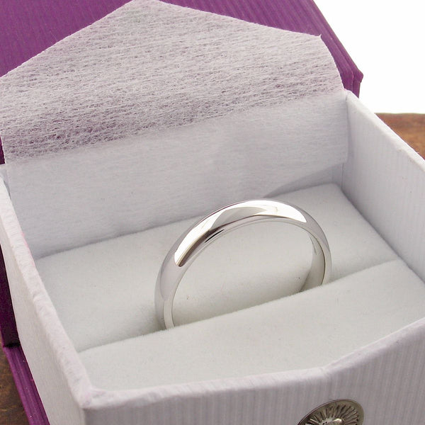 Silver narrow court wedding ring - Gretna Green Rings