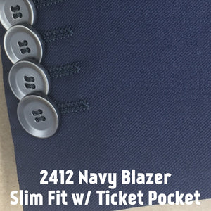 Navy Blazer w/ Ticket Pocket | Men's Sport Coat | Slim Fit