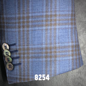 French Blue Plaid w/ Tan Accent | Men's Sport Coat | Contemporary Fit