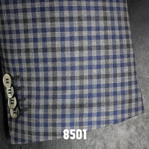 Grey and Blue Check Plaid | Men's Sport Coat | Contemporary Fit