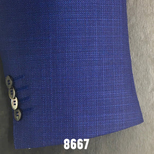 Blue Textured Solid Sports Coat