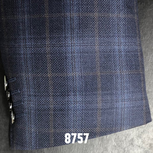 Blue Texture Plaid w/ Tan Accent | Men's Sport Coat | Contemporary Fit