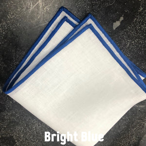 Piped Edge -Bright Blue Square Linen