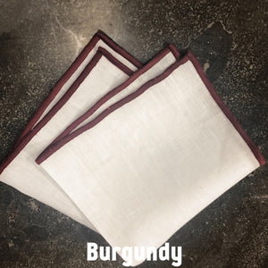 Piped Edge -Burgundy Square Linen