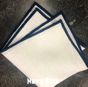 Piped Edge -Navy Square Linen