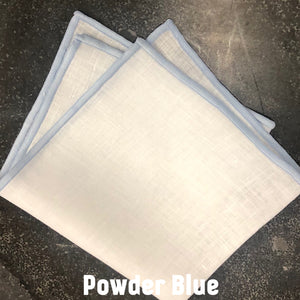 Piped Edge -Powder Blue Square Linen