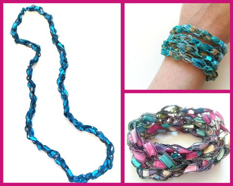 Crocheted Trellis Ladder Yarn Long Necklace or Wrap-Around Bracelet