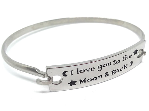 Inspirational Message Link Stainless Steel Bangle Bracelets