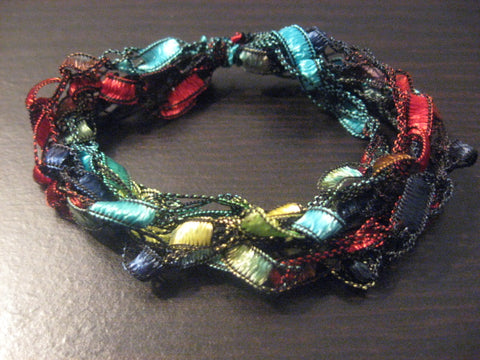 Crocheted Trellis Ladder Yarn Multi-Strand Bracelets