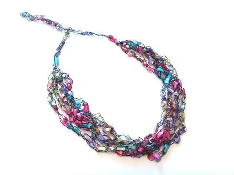 Crocheted Trellis Ladder Yarn Necklaces