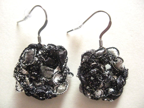Crocheted Trellis Ladder Yarn Dangle Earrings