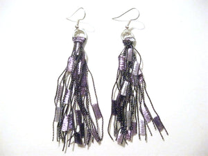 Crocheted Trellis Yarn Fringe Earrings - Grape