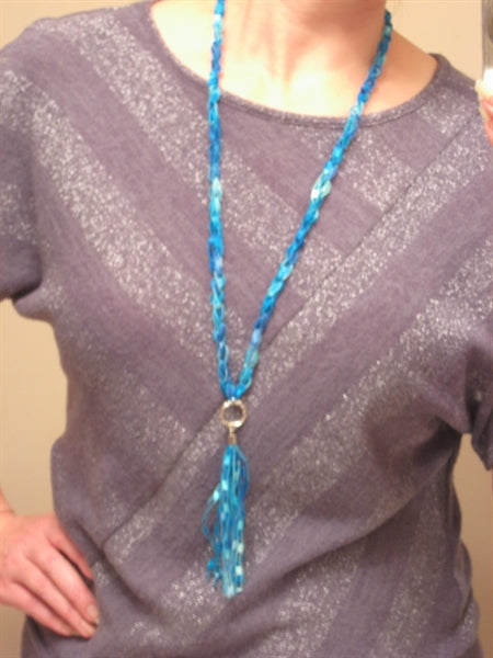 Crocheted Trellis Yarn LONG TASSEL Necklace Pattern - Mailed to your address