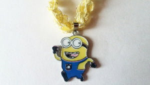 Minion Necklace with Crocheted Yarn Chain