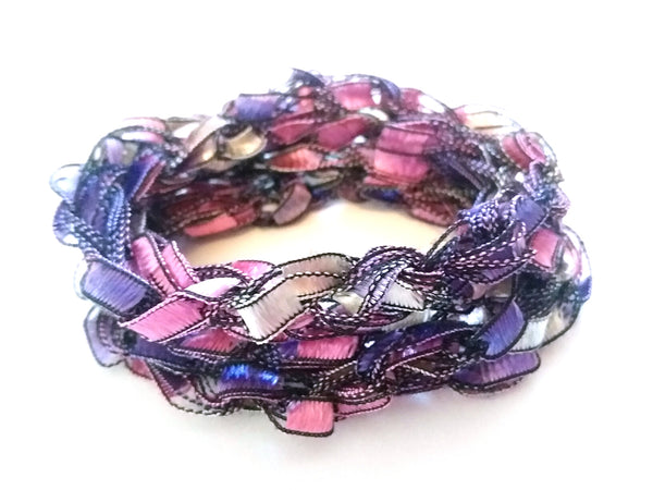 Crocheted Trellis Yarn Long Necklace or wear as Wrap-Around Bracelet - 15 Color Choices