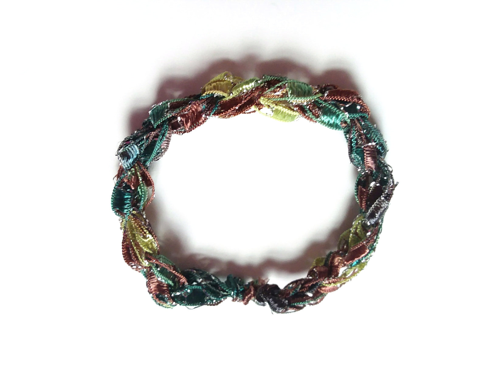 CHOOSE YOUR CHARM-Crocheted Trellis Ladder Yarn Bracelet Color Woodland Sparkle