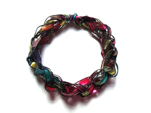 CHOOSE YOUR CHARM-Crocheted Trellis Ladder Yarn Bracelet Color Confetti
