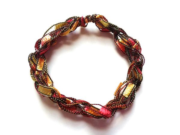 CHOOSE YOUR CHARM-Crocheted Trellis Ladder Yarn Bracelet Color Autumn