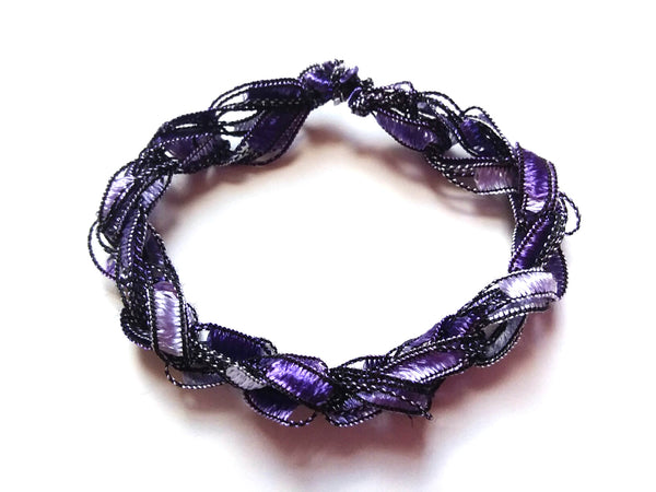 CHOOSE YOUR CHARM-Crocheted Trellis Ladder Yarn Bracelet Color Grape