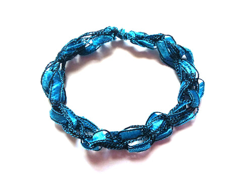 CHOOSE YOUR CHARM-Crocheted Trellis Ladder Yarn Bracelet Color Aquamarine