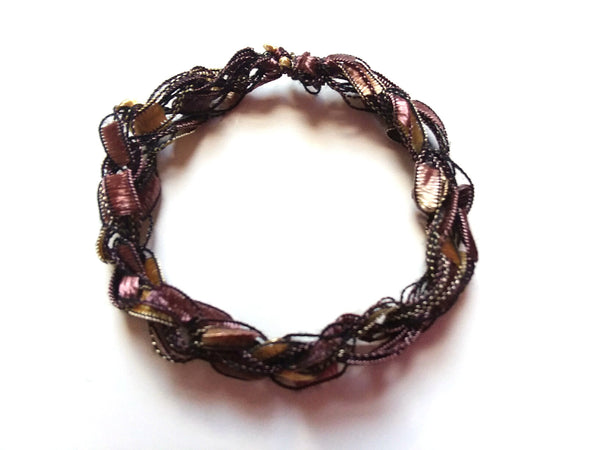CHOOSE YOUR CHARM-Crocheted Trellis Ladder Yarn Bracelet Color Cherrywood