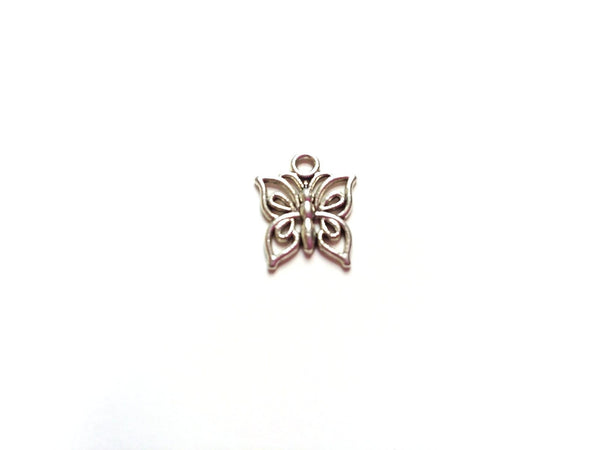 Antique Silver Butterfly Pendant Charms (Jumprings Included)