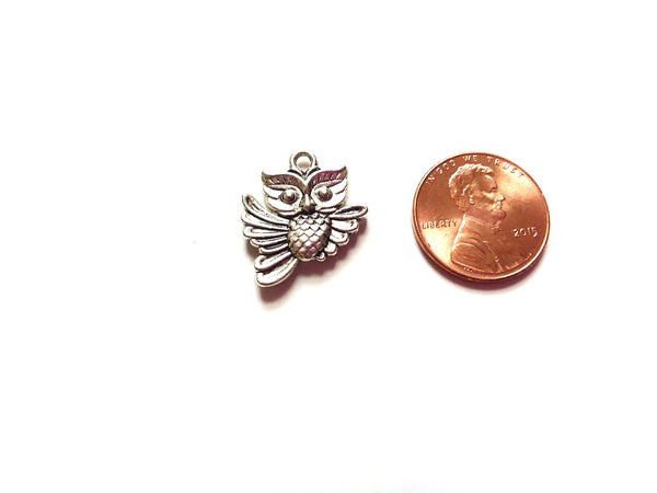 Antique Silver Owl Pendant Charms (Jump Rings Included)