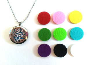 Stainless Steel Aromatherapy Locket Necklace - Paisley