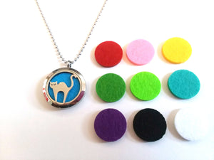 Stainless Steel Aromatherapy Locket Necklace - Cat 2