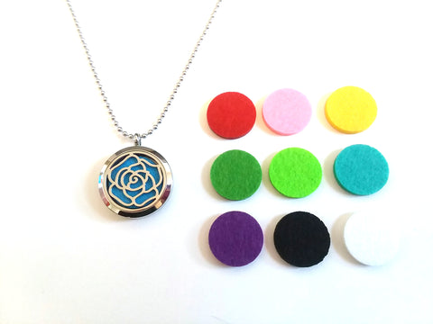 Stainless Steel Aromatherapy Locket Necklace - Rose