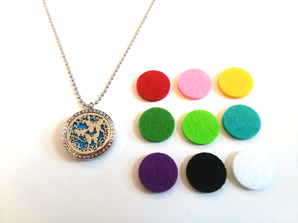 Stainless Steel Aromatherapy Locket Necklace - Butterflies