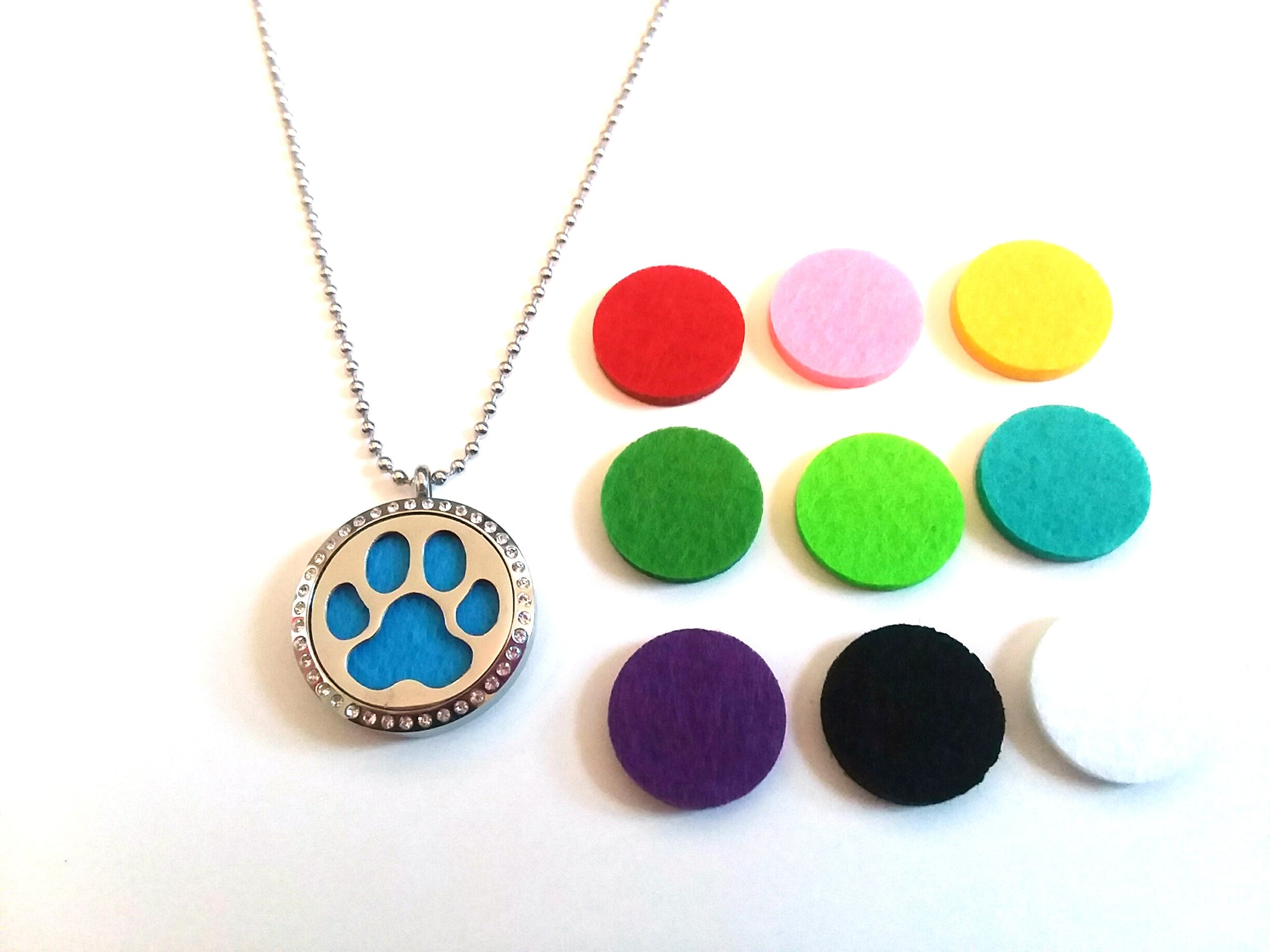 Stainless Steel Aromatherapy Locket Necklace - Large Paw Print