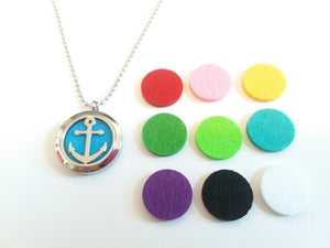 Stainless Steel Aromatherapy Locket Necklace - Anchor