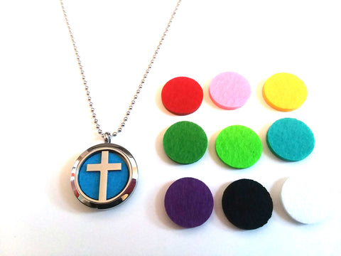 Stainless Steel Aromatherapy Locket Necklace - Cross