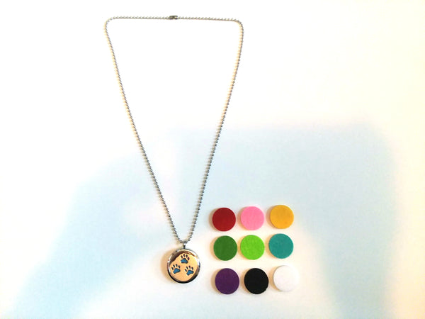 Stainless Steel Aromatherapy Locket Necklace - 3 Paw Prints