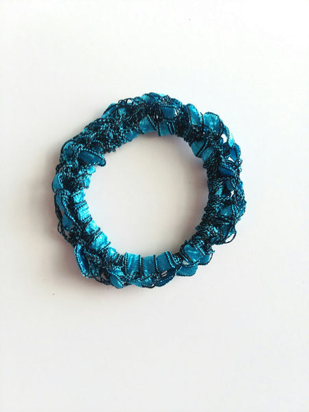 Crocheted Trellis Yarn Stretchy Hair Tie - 16 Color Choices