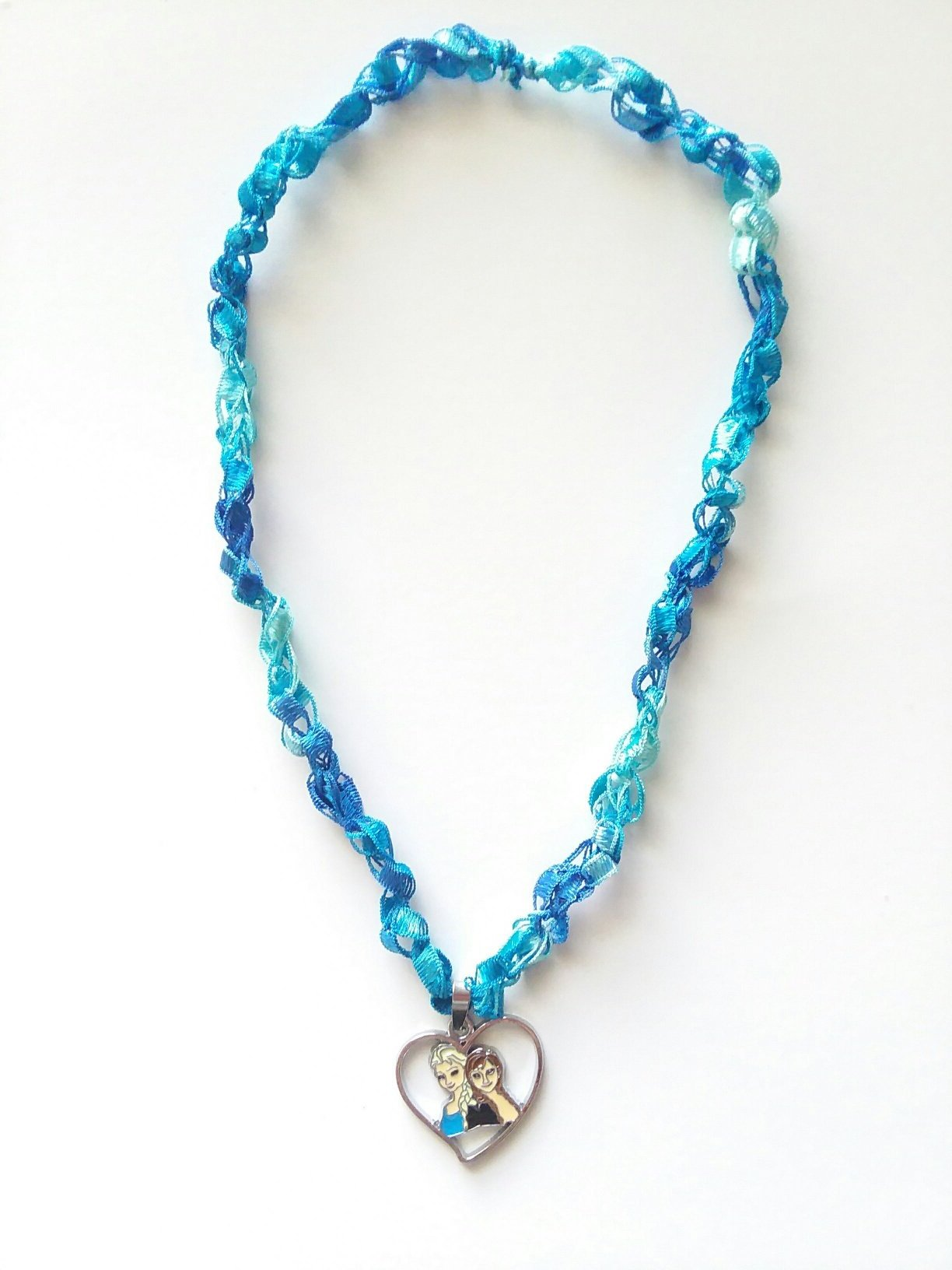 Anna & Elsa Heart Necklace with Crocheted Yarn Chain
