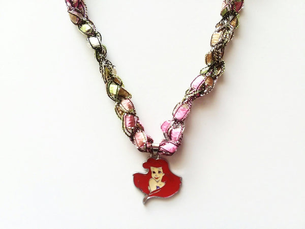 The Little Mermaid Necklace with Crocheted Yarn Chain